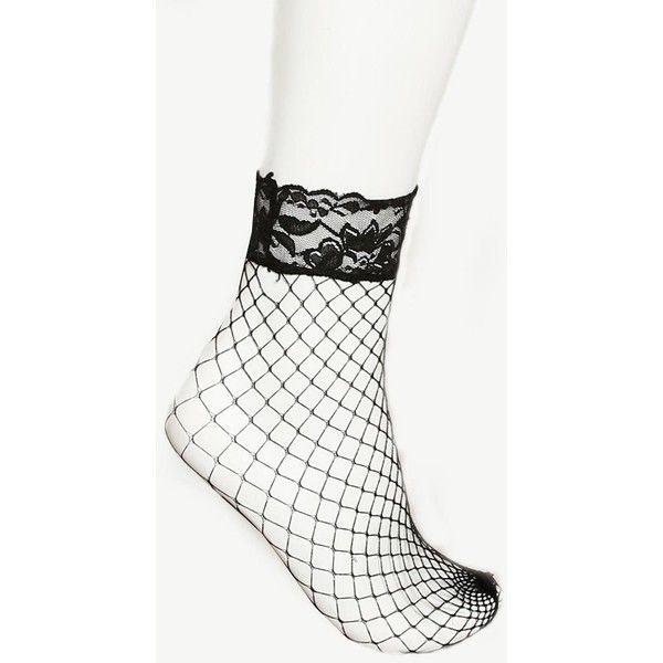 Fishnet Lace Trim Socks ($3.99) ❤ liked on Polyvore featuring intimates, hosiery, socks, black, fishnet socks, sexy hosiery, fishnet hosiery, lace trim socks and sexy socks