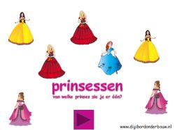 Digibordles Prinsessen: van welke prinses zie je er maar één? http://digibordonderbouw.nl/index.php/themas/prinsessen/prinsessen
