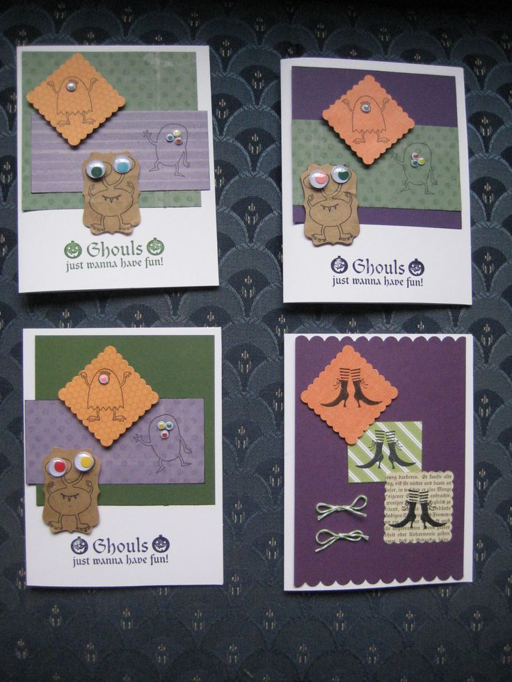 Halloween cards for kids using 3 variations of the build a monster Stampin Up set, and one witchy boots card.