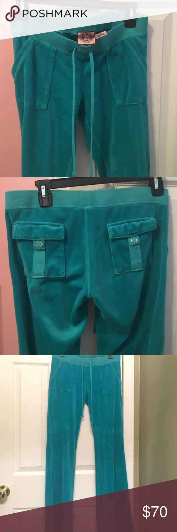 Juicy Couture teal velour tracksuit pants SMALL Juicy Couture turquoise/teal tracksuit pants. Low rise, drawstring,  flare velour sweatpants.  kangaroo pockets in the front and snap pockets on the back. Worn a few times, no sign of wear. Size Small. Juicy Couture Pants Track Pants & Joggers