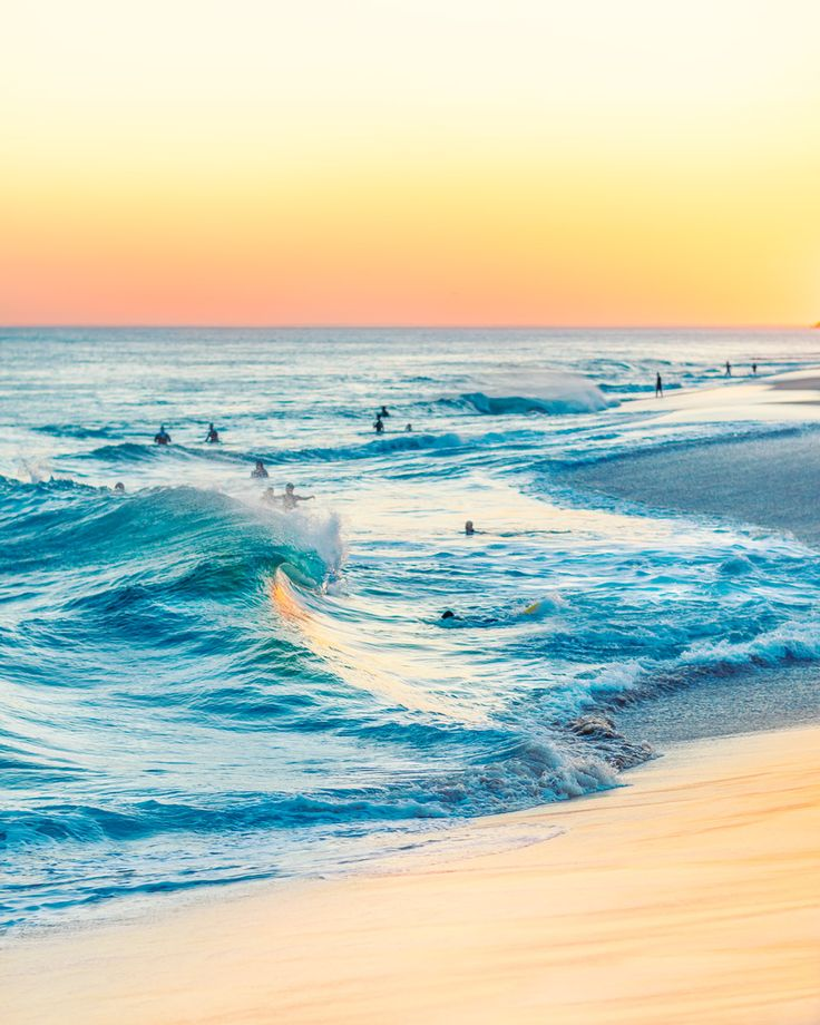 The Wedge at Sunset in Newport Beach, California.