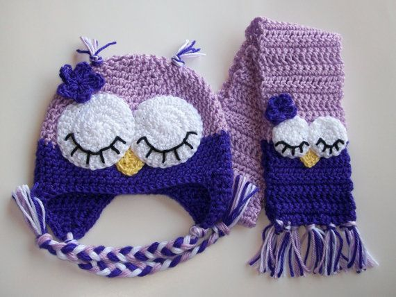 Toddler Sleepy Owl Hat Scarf Set Crochet by The5Princesses on Etsy, $30.00