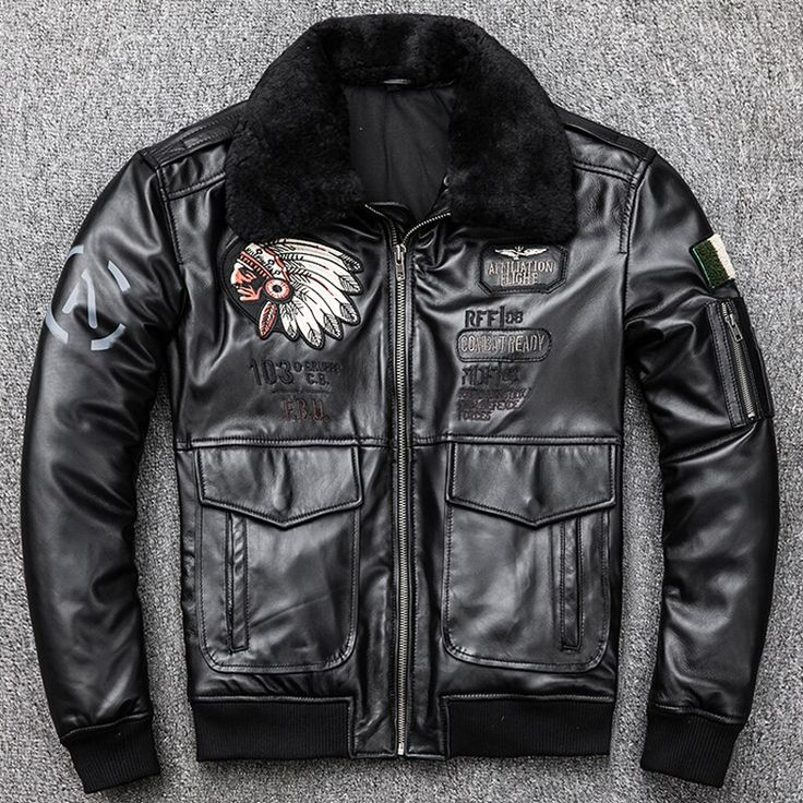 Indian Style Fight Mens Sheepskin Leather Jackets Fur