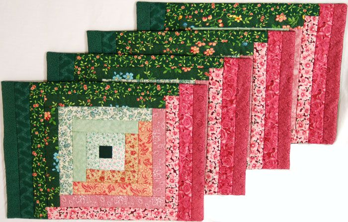 Set Of 4 Quilted Placemats In Log Cabin Pattern With Pink