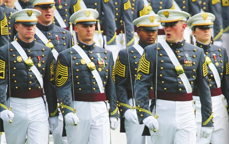"The United States Military Academy at West Point is built on traditions. Read about 12 of the most popular ones in ""West Point"" magazine. (Photographed: Brigade Staff during a parade.)"
