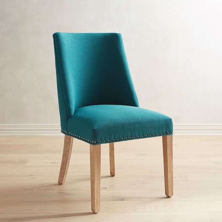 Corinne Teal Dining Chair With Natural Stonewash Wood