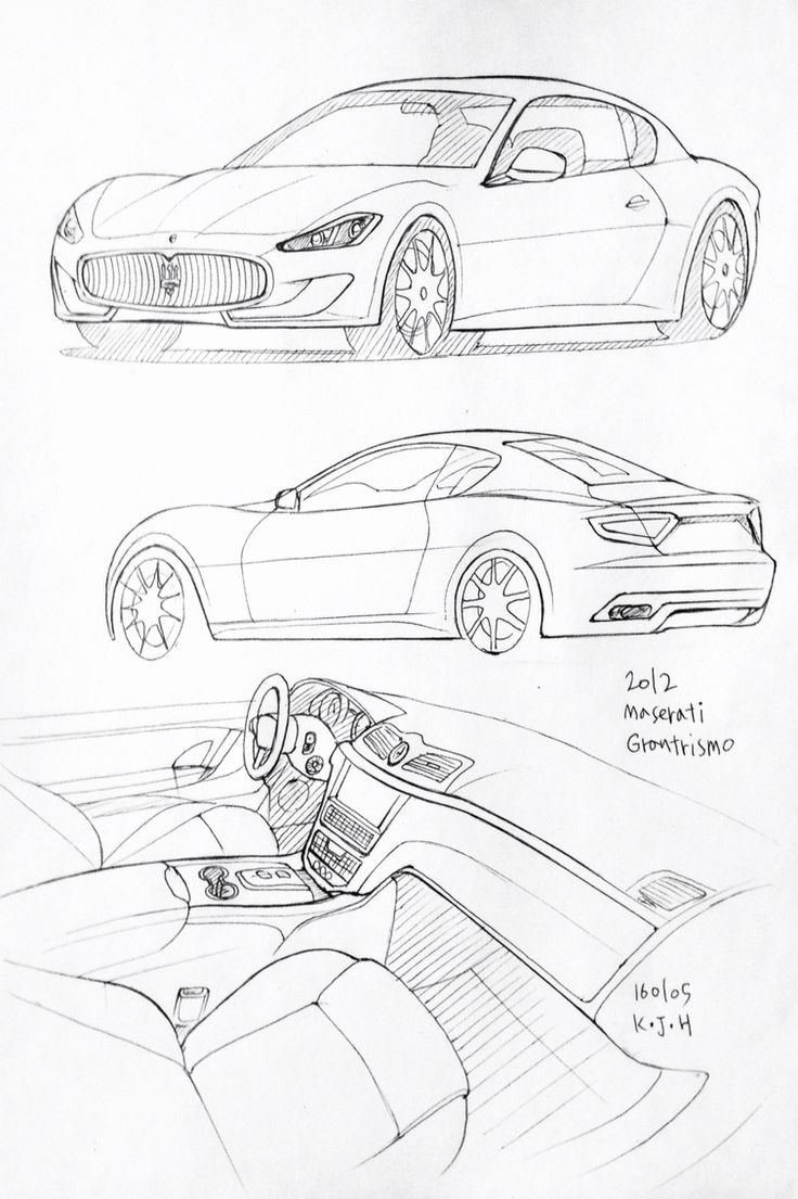 Car drawing 160105.  2012 Maserati Granturismo.   Prisma on paper.  Kim.J.H