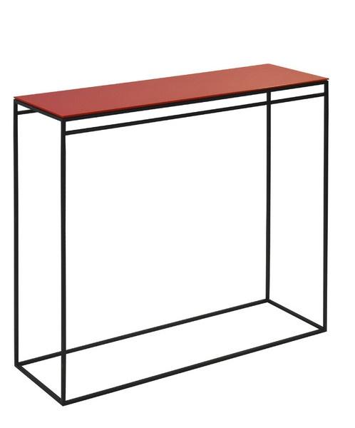 Console simple 90x30x85 structure en acier et plateau en verre de couleur c - Console en verre ikea ...