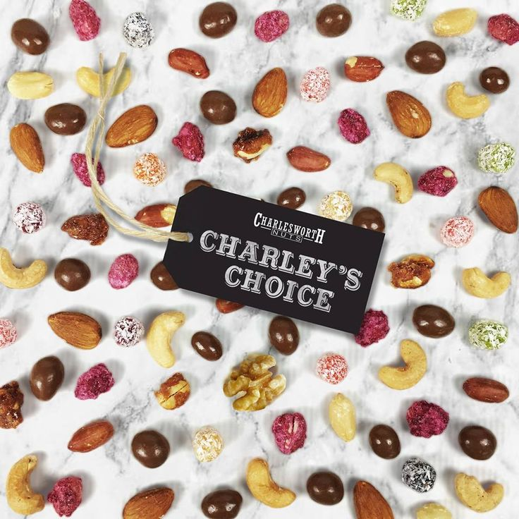 Charleys Choice... A Charlesworth classic – a massive assortment of Dry Roasted Cashews, Roasted Peanuts, Glazed Peanuts, Sugared Peanuts, Chocolate Peanuts, Chocolate Sultanas, Fruit Pieces, Raw Cashews, Raw Almonds, Raw Hazels, Raw Walnuts and Raw Brazils – so many different treats in one mix that we bet you can't recite them all by heart. #nuts #cashews #nutmix #treatyourself