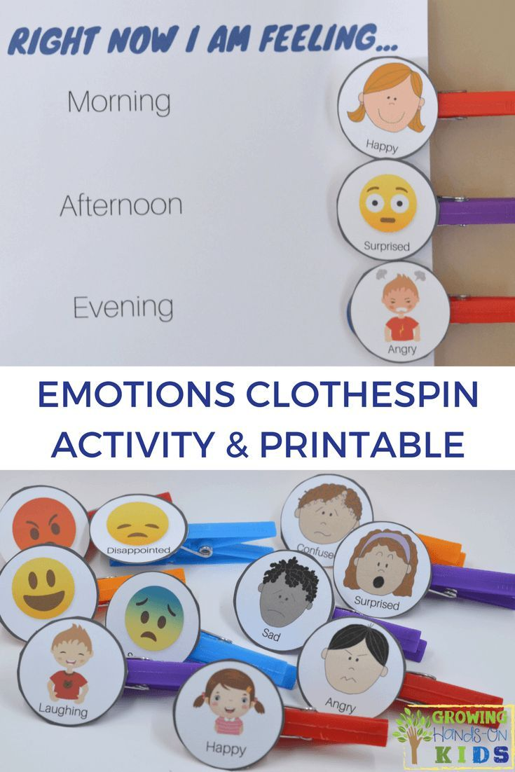 Emotions clothespin activity chart and free printable.