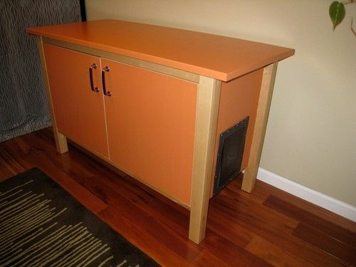 maybe something more like this but not in these colors.. A old piece of furniture refinished is also an idea.