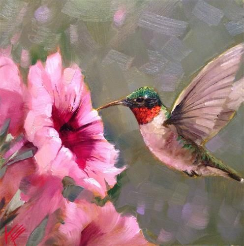 "Daily Paintworks - ""Petunias and Hummingbird"" by Krista Eaton"