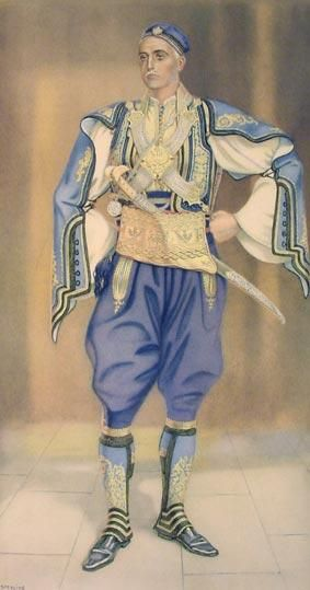 Greek Guerilla Chief (Northern Epirus) - Greek Costume Collection by NICOLAS SPERLING (Russia 1881-1940 / act: Athens).