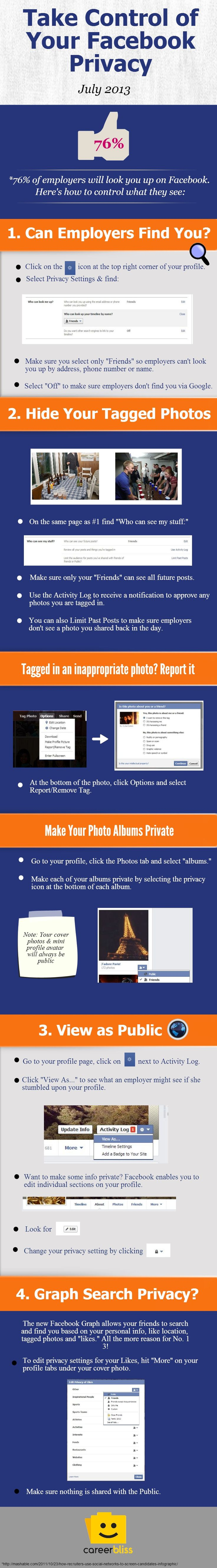 Dear students and grads, please care for your privacy! Infographic: Take Control of Your Facebook Privacy | CareerBliss