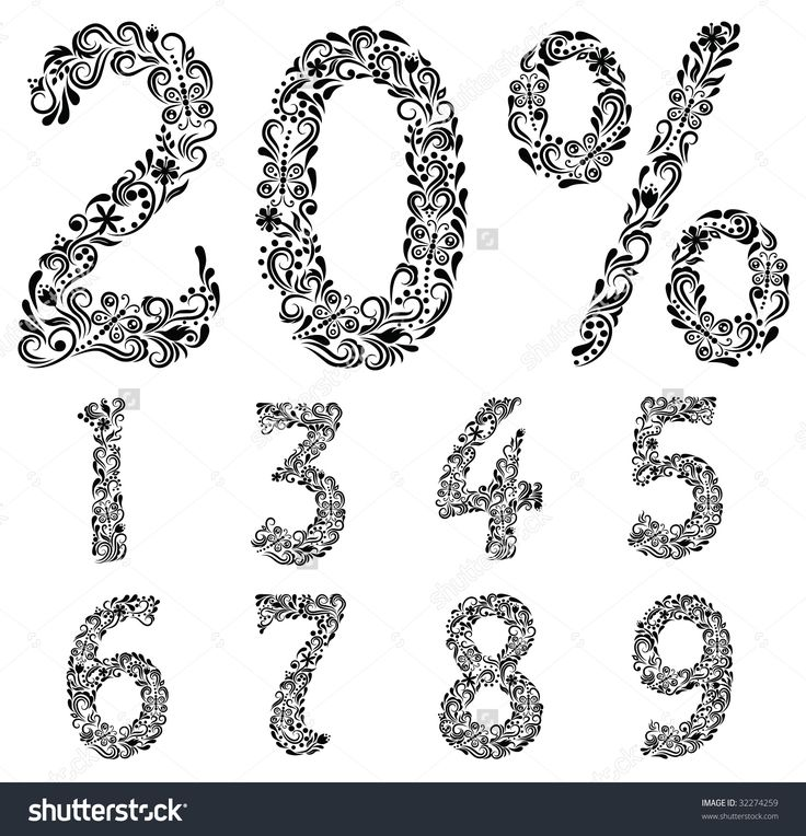 Numbers Made Of Patterns. Стоковое векторное изображение 32274259 : Shutterstock