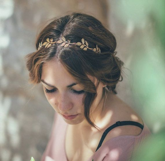 Bridal headband. Gold Leaf Bridal Headband. Wedding Headpiece. Olive Bridal headband. Women boho elastic Headband. Boho wedding headpiece