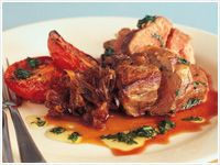 Roast lamb rump with tomato and basil oil
