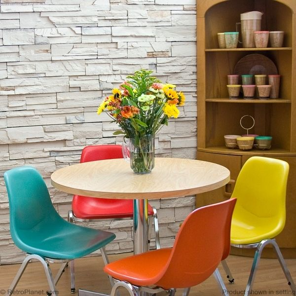 Round Dinette Set with Multi Colored Chairs - Love the wall!