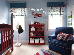 Baby Boy S Airplane Nursery Love The Blue Chair Red Shelf