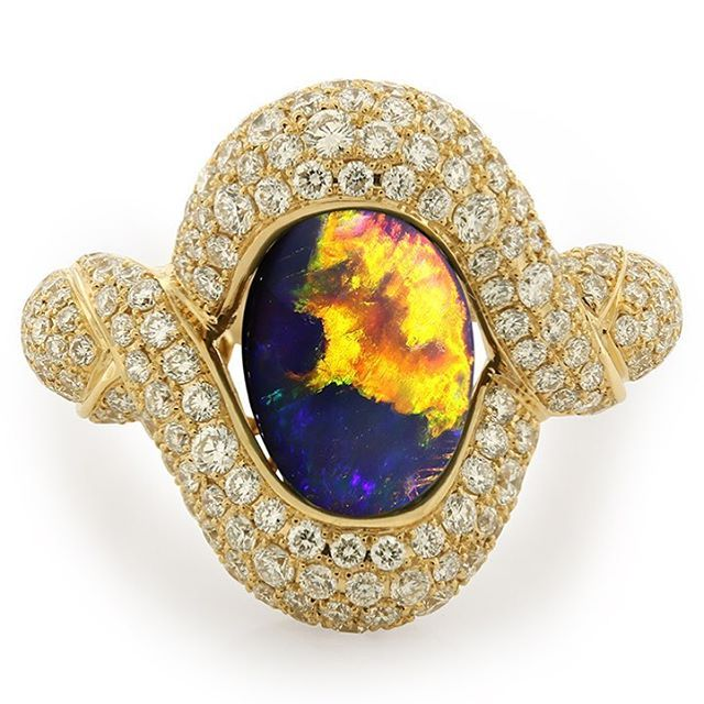 Lightning Ridge Black Opal Ring by KAT FLORENCE