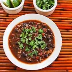 Slow Cooker (or Stovetop) Vegetarian Black Bean and Rice Soup with Lime and Cilantro | Kalyn's Kitchen®