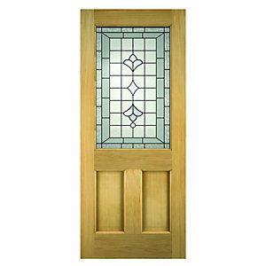 Wickes Avon External Oak Veneer Door Glazed 2 Panel 1981x762mm