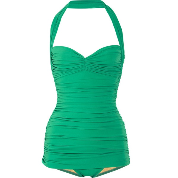 Norma Kamali Bill ruched halterneck swimsuit found on Polyvore    If only this were 300 bucks cheaper...