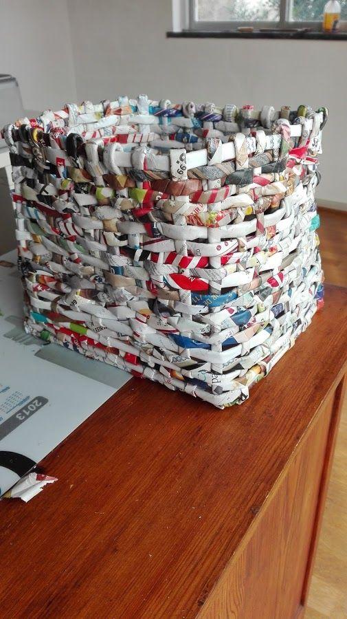 Cesta de papel reciclado | Manualidades
