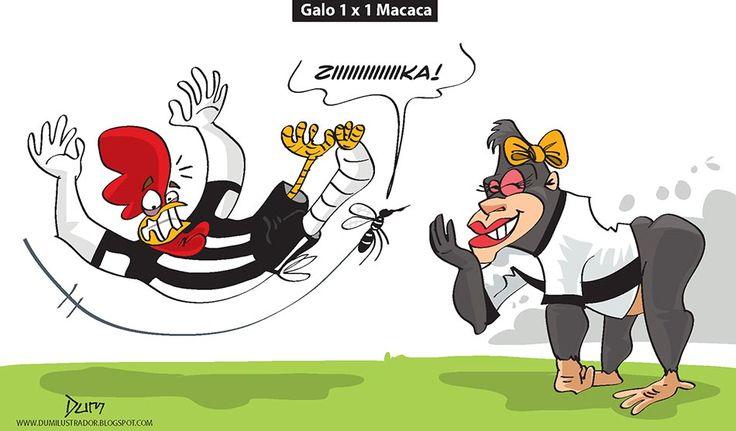 """Charge do Dum (Zona do Agrião) sobre o """"tropeço"""" do Atlético diante da Ponte Preta na Copa do Brasil (25/08/2016). #Charge #Dum #Atlético #Galo #Macaca #PontePreta #CopaDoBrasil #HojeEmDia"""