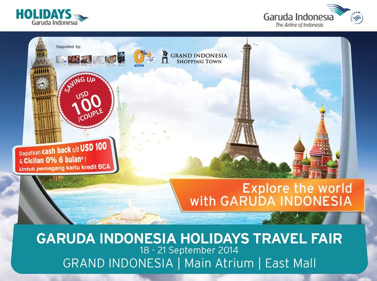 Visit Us at  Garuda Indonesia Travel Fair Jakarta Convention Center 12-14 September 2014  and ENJOY Special Offers for Tour Packages  #GATF #GarudaIndonesia
