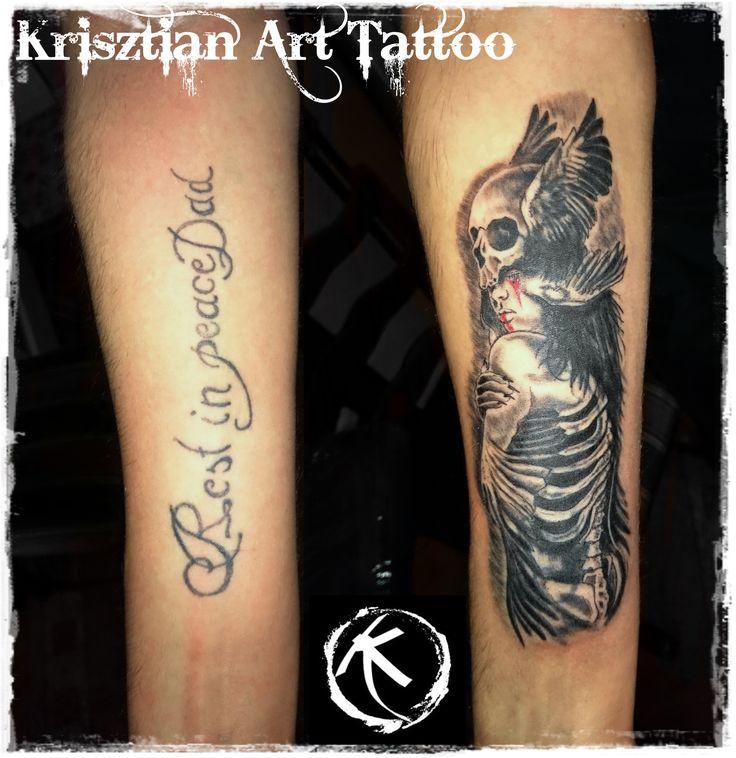 Krisztian Art Tattoo - Cover up tattoo forearm skull and girl