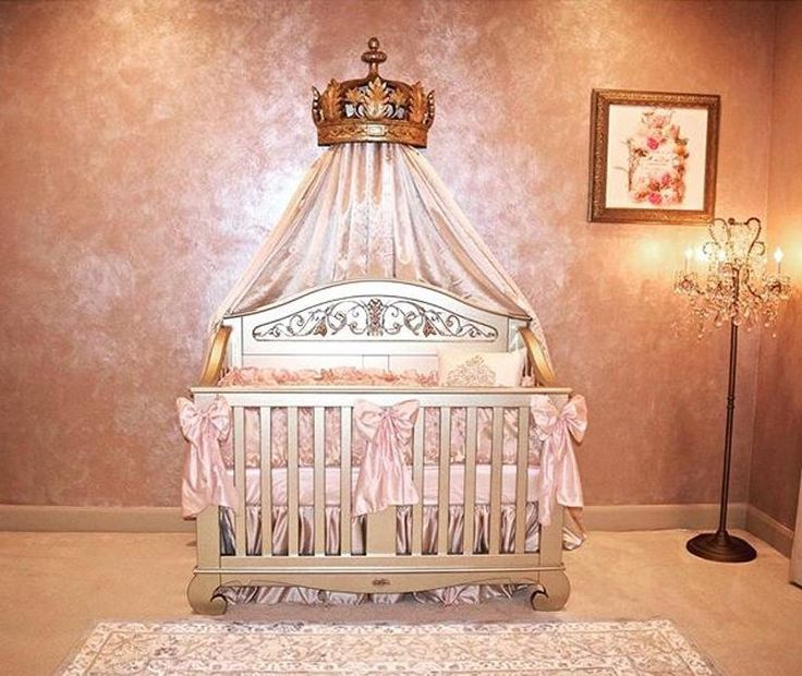 Super sophisticated nursery for your pretty princess. This Little Princess nursery includes our Chelsea Lifetime crib in Antique Silver and lavish baby bedding. Only luxurious nursery decor for this nursery! #brattdecor