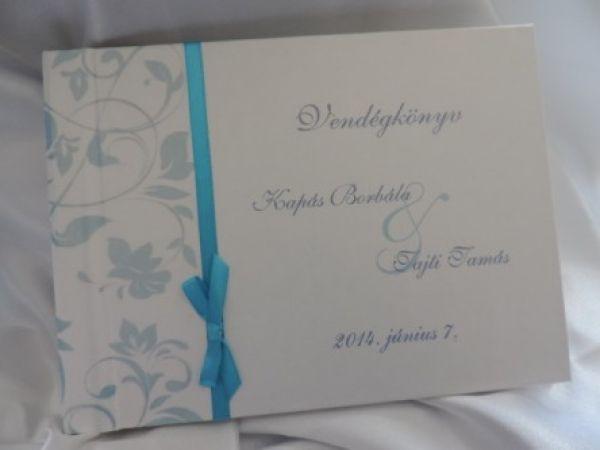 00050 - Vendégkönyv gyöngyházfényű papír borítással - mintával - szatén szalaggal - Papírral bevont esküvői vendégkönyvek - Esküvői vendégkönyvek, emlékkönyvek - Webáruház - Esküvői meghívó, esküvői vendégkönyv, ültető és menükártya, köszönetajándék