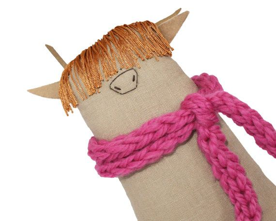 Highland cow toy with cosy pink scarf.  MoooOOOOOOOoOOo!!!!! This adorable highland cow Moosac is one of my original Poosac art dolls. Each and every one