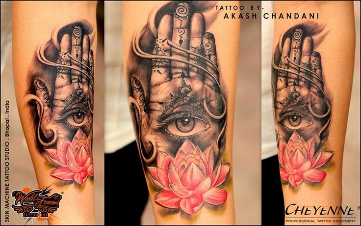 Realism Hamsa hand with Lotus Tattoo by Akash Chandani 1st attempt with World famous inks and I'm really really loving it !  This Tattoo represents protection, bravery, confidence or calm.The inclusion of an eye in a Hamsa tattoo design is meant to symbolize protection. It is often referred to as the eye of Horus, which means you are always being watched by an all knowing presence and cannot escape your own conscience. Looking forward to the coming projects I'll be wrapping up in next coming…