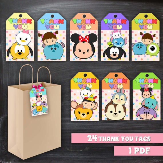Big SET 24 Tsum Tsum Thank you Tags instant download, Printable Tsum Tsum Thank you tags, Tsum Tsum Party Gift Favor Label Tag