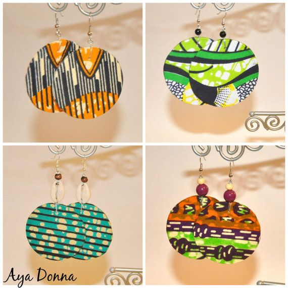 African Fabric Earrings by ayadonna on Etsy