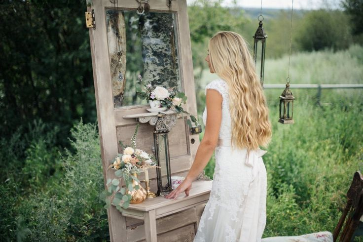 Styled Wedding Shoot: Vintage Field Chic. Bride, Getting Ready, Vintage Mirror