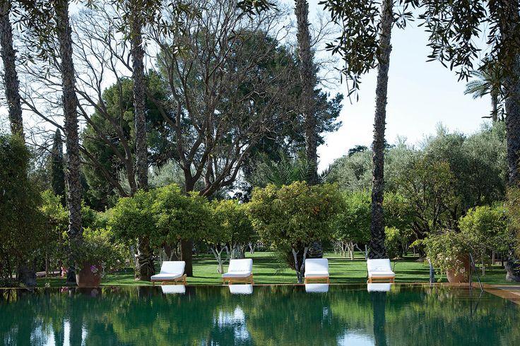 Madison Cox designed pool for Marella Agnelli's Marrakesh home, Ain Kassimou, photo by Oberto Gili for the WSJ magazine