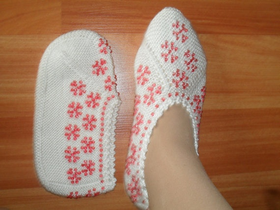 Traditional Hand Knit Turkish Socks Slippers for adults, crochet womens slippers, knitted home shoes,. $19.50, via Etsy.