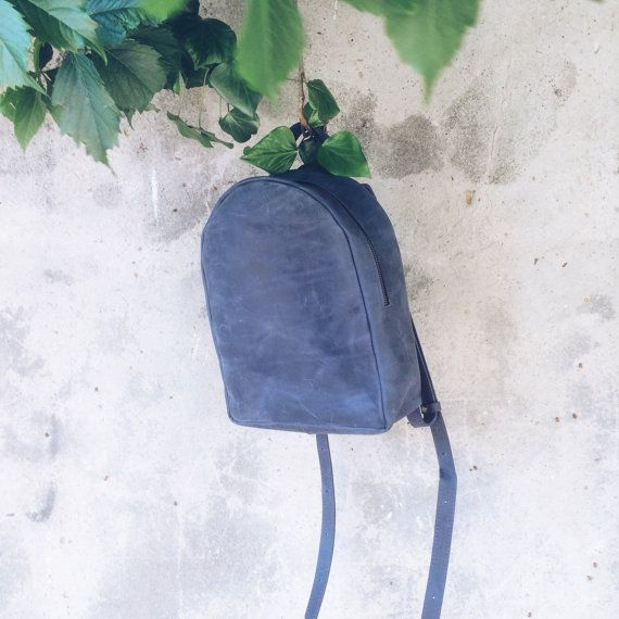 Handmade SMALL blue Ladies LEATHER BACKPACK by Backpacks4Friends