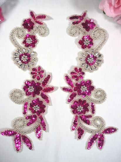 Fuchsia & Silver Mirror Pair Sequin Beaded Appliques 0183  Measures: 10 x 3.5 each  You are buying a pair.   This applique pair is great for costumes