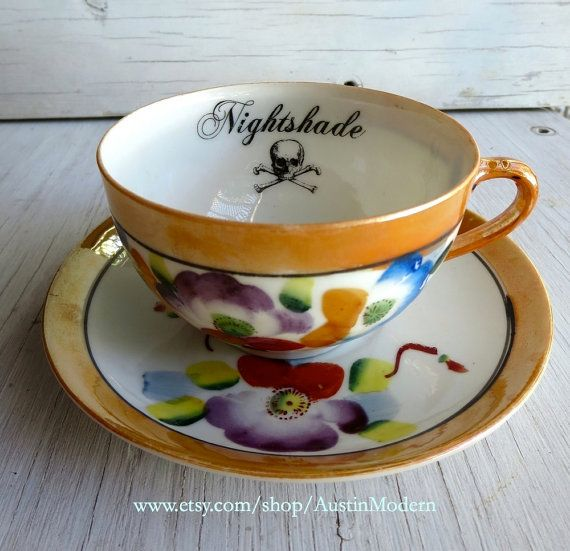 Rupp me off sweetheart Poison Tea Cup and Saucer Gothic Altered Vintage by AustinModern, $38.00