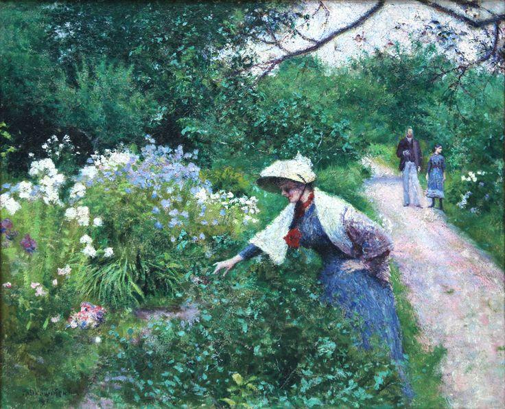 Władysław Podkowiński - W ogrodzie przy klombie, 1891