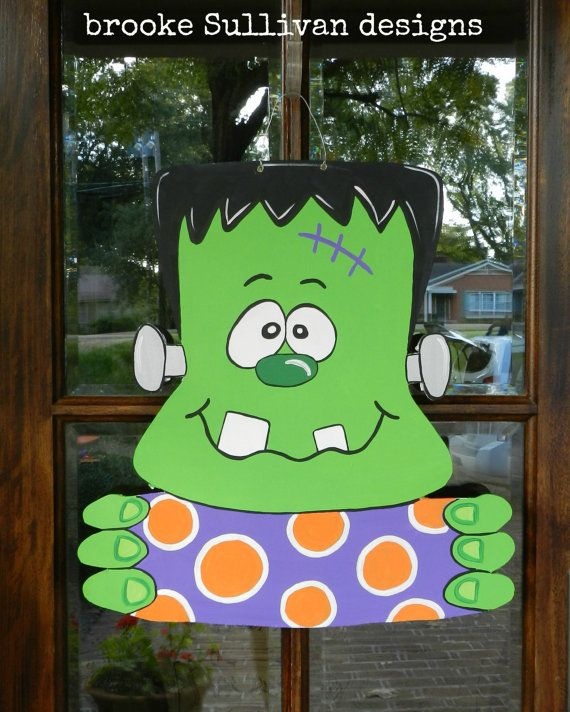 Frankenstein Halloween XL Door Hanger by brookesullivan on Etsy,