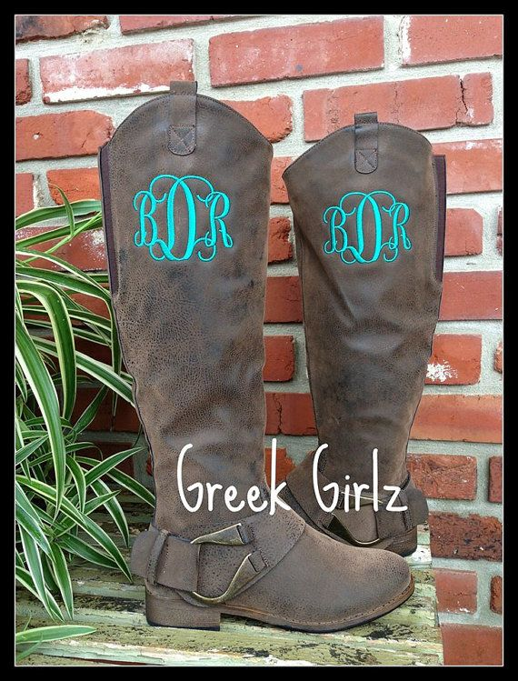 Monogrammed Boots Ladies by Thepurplepeaboutique on Etsy, $75.00