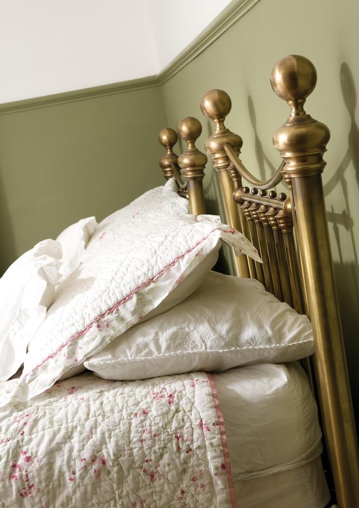 Modern brass single (twin) beds with period Georgian colors throughout (Farrel & Ball)  #georgian #english #restoration #home #brass #bed #farrel #ball #littlehampton #arundel #westsussex #townhouse #renovation