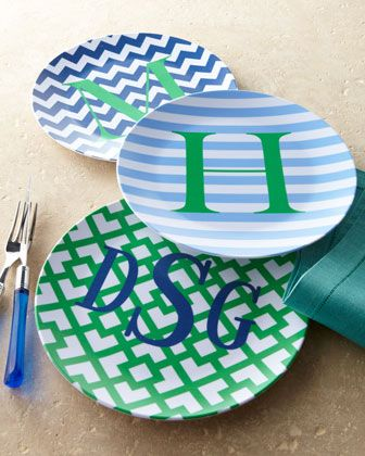 Personalized Melamine Dinner Plates at Horchow.: Melamine Plates, Dinners Plates, Crafts Ideas, Melamine Dinners, Gifts Ideas, Homemade Gifts, Parties Plates, Personalized Melamine, Monograms Plates