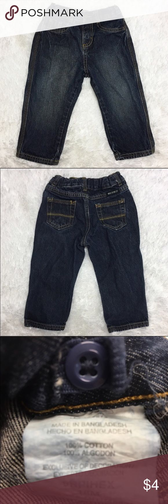 Wrangler Dark Wash Denim Jeans Wrangler Dark Wash Denim Jeans  🔘Description: Baby Toddler Boy Size 18 Months Dark Wash Wrangler Jeans with Adjustable Waist Bands 🔘Condition: Excellent 🔘Material: 100% Cotton 🔘Measurements:      Hip to Hip - 9 Inches      Inseam - 11 Inches           💎 Price is Firm💎 ⭐️ 15% Off All Bundles! 🛍                  💞Thanks for stopping by! 😘 Inventory: A Bottoms Jeans