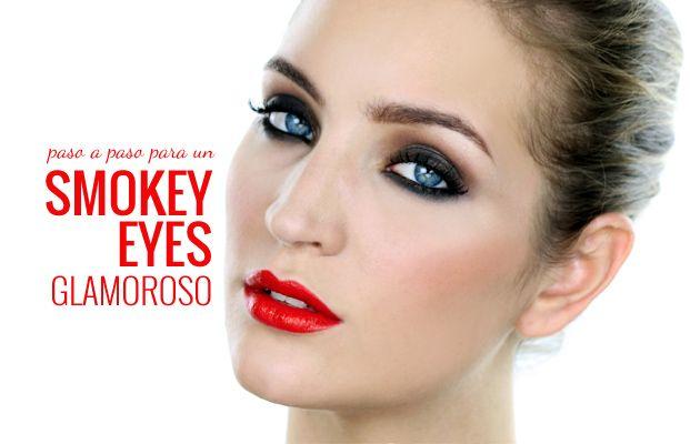 #Aprender a #maquillar #tutorial #pasoapaso #smokeyeyes glamoroso que te enseña Bettina, combinados con unos tentadores labios colorados.